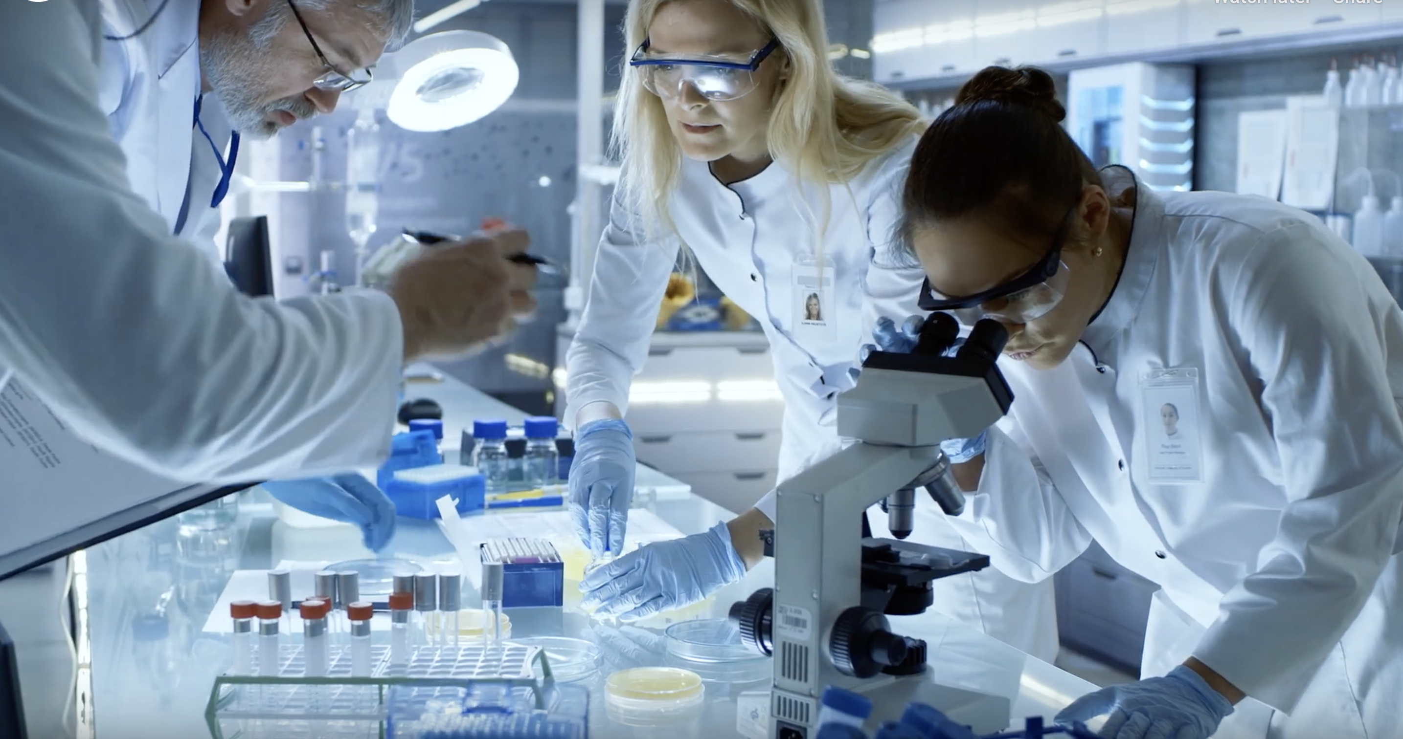 Screenshot of the Sabin Aspen video with scientists developing a vaccine